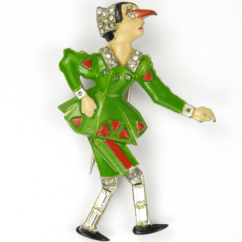 Pennino Pave Enamel and Baguettes Pinocchio Pin Clip
