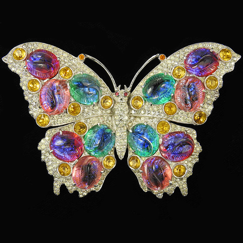 Dujay (unsigned) Pave and Multicolour Iridescent Fruit Salad Stones Giant Butterfly Pin