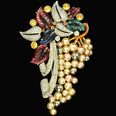 Dujay Pave Fruit Salads and Pearls Floral Spray Pin Clip