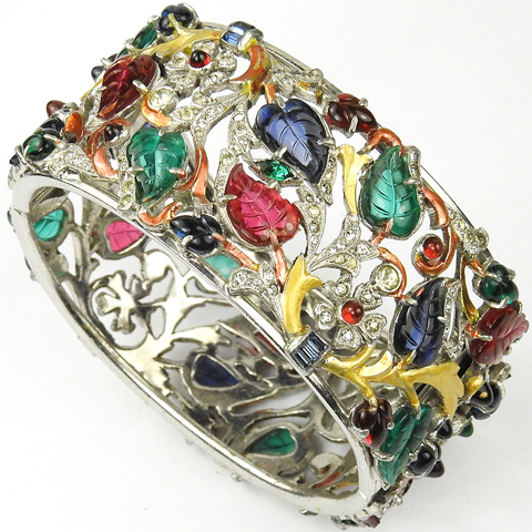 Dujay Multicolour Fruit Salads Pave Flowers and Metallic Enamel Branches and Leaves Openwork Hinged Bangle Bracelet