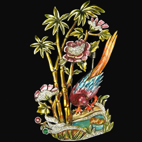 Dujay Bird of Paradise with Palm Trees Flowers and Plique a Jour Tropical Lagoon Pin Clip
