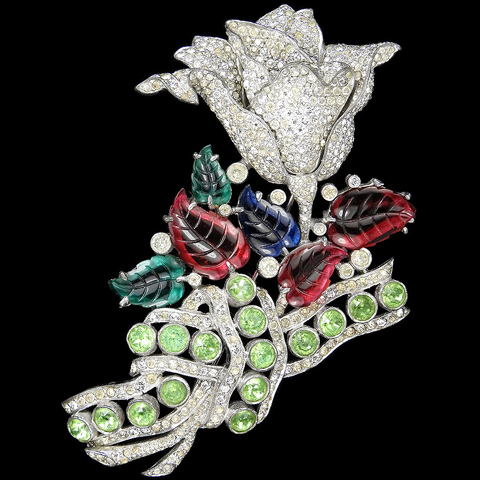 Dujay Giant Pave Tulip Flower with Tricolour Fruit Salad Leaves and Peridot Bow or Scarf Pin
