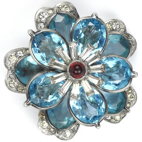 Pennino Pave and Aquamarine Pointed Petals Flower Pin or Pendant