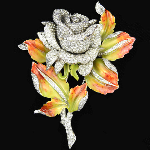 DuJay Pave Rose with Metallic Enamel Mottled Leaves Floral Spray Pin