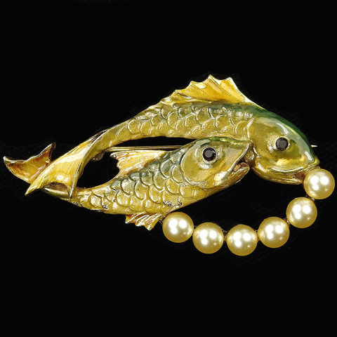 Pennino Gold Pearls and Enamel Pair of Swimming Fish with Bubbles Pin