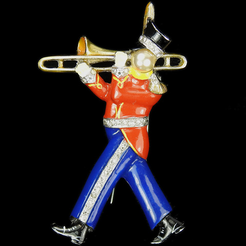 DuJay Pave and Enamel Military Marching Band Trombone Player Musical Pin Clip