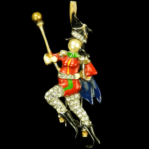 DuJay Pave and Enamel Military Marching Band Cheerleader Majorette with Baton Musical Pin Clip