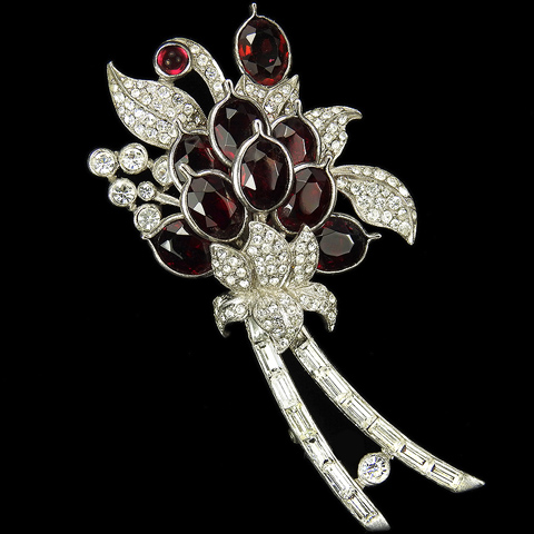 Pennino Ruby Pointed Petals Flowers Pave and Baguettes Floral Spray Pin Clip