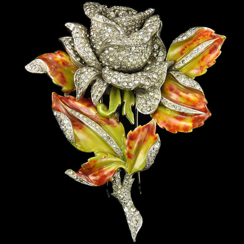 DuJay Pave and Metallic Enamel Rose and Mottled Leaves Pin Clip (missing leaf)