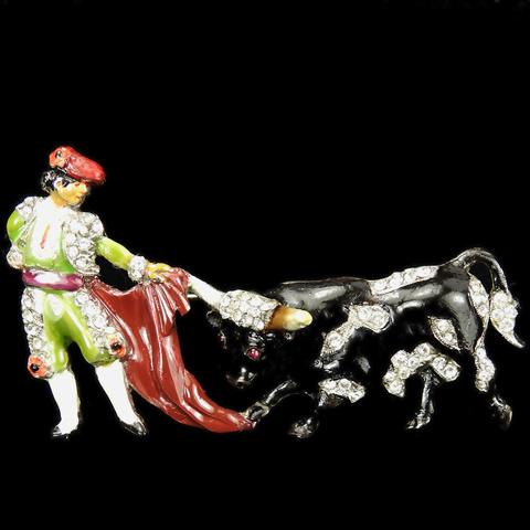 Dujay Pave and Enamel Bullfighter Matador with Cloak and Charging Bull Pin