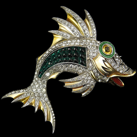 Dujay Gold Pave and Invisibly Set Emeralds Leaping Fish Pin