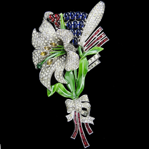 Dujay Pave Enamel and Openback Channel Set Rubies, Ruby and Sapphire Cabochons, and Marquise Cut Citrines Giant Lily Flower with Bow Pin