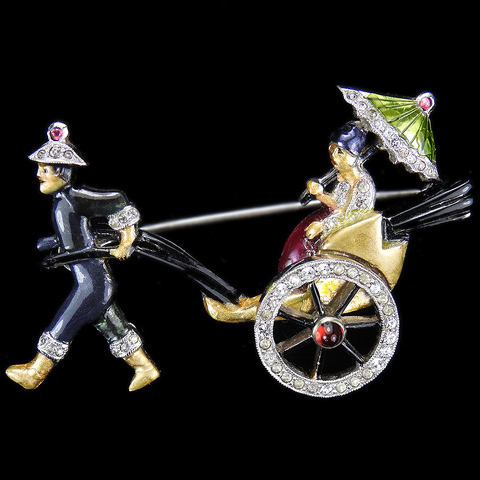 DuJay Pave and Enamel Lady with Parasol in Rickshaw Pulled by a Man in a Chinese Hat Pin