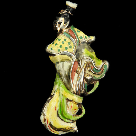 Nettie Rosenstein Sterling Gold and Enamel Chinese Lady in Mandarin Costume Pin Clip
