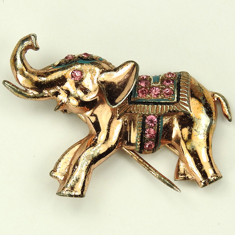Nettie Rosenstein Sterling Gold Multicolour Stones and Enamel Trumpeting Elephant Pin Clip