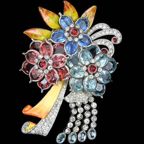 Pennino Pave and Mottled Enamel Aquamarine Sapphire and Ruby Pointed Petals Triple Flower with Bow and Pendants Spray Pin