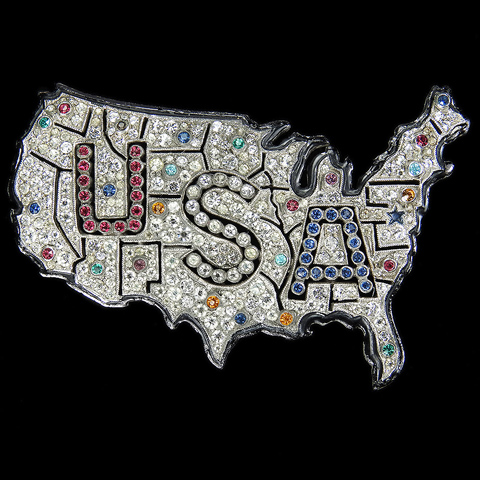 Dujay (unsigned) WW2 US Patriotc Pave and Enamel Openwork Red White and Blue Map of the USA Pin