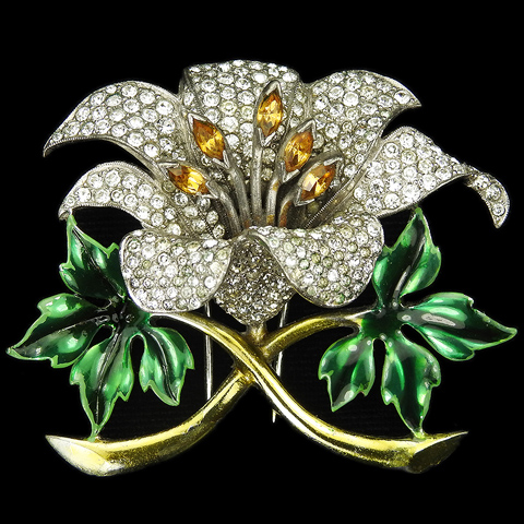 Dujay Pave and Metallic Enamel Orchid with Topaz Stamens Pin Clip