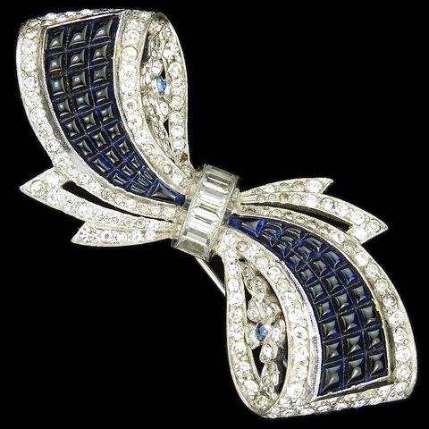 Dujay Pave Baguettes and Invisibly Set Sapphires Bow with Flowers Pin