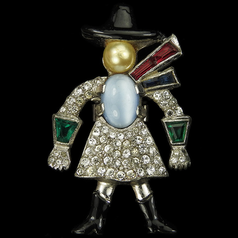 Dujay Pave Enamel Blue Moonstone and Pearl Cowgirl with Hat Scarf Gauntlets and Boots Pin Clip