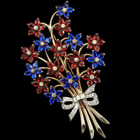 Dujay Gold Sapphire and Ruby Flowers with Pave and Baguettes Bow Floral Spray Pin
