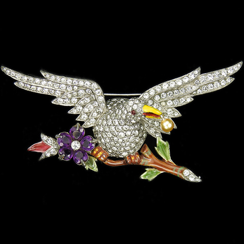Dujay Pave Enamel and Pearl Eagle on an Amethyst Flower Branch with a Pearl in its Beak Pin