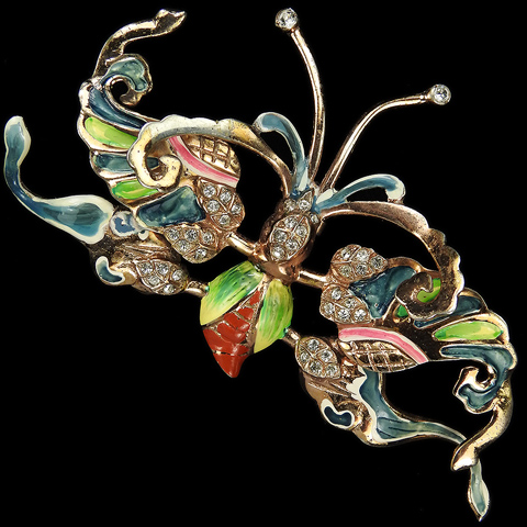 Nettie Rosenstein Sterling Gold and Enamel Giant Chinese Butterfly Pin Clip