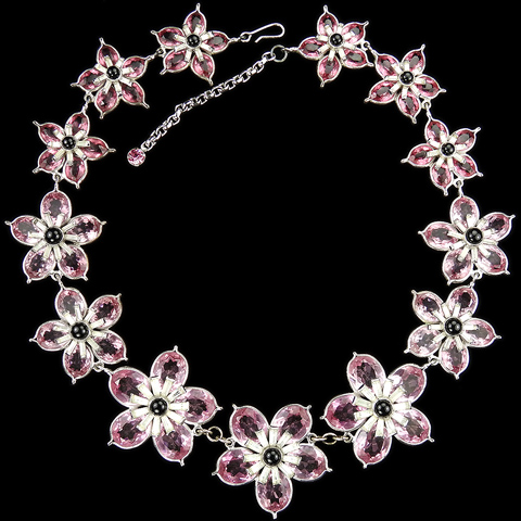 Pennino Amethyst and Pink Topaz Pointed Petals Flowers Pave and Baguettes Floral Necklace