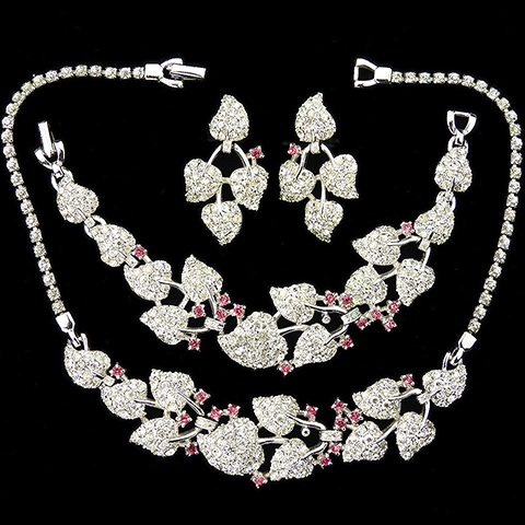 Pennino Pave Heart Shaped Leaves and Pink Topaz Spangles Necklace Bracelet and Screwback Earrings Set