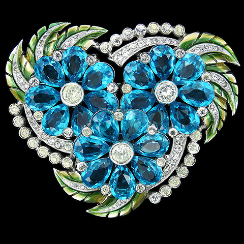 Dujay Pave Metallic Enamel and Three Spangled Teardrop Aquamarine Flowers Floral Spray Pin