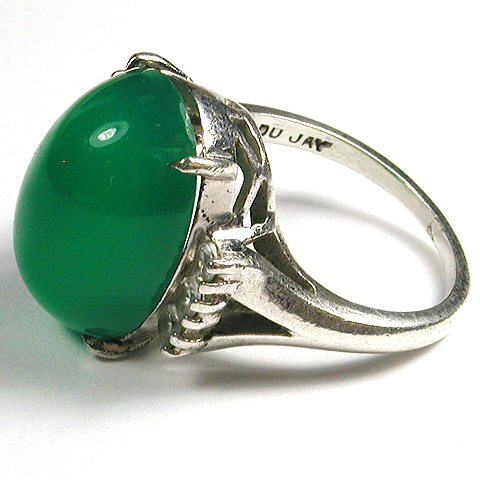 DuJay Sterling Emerald Cabochon Finger Ring