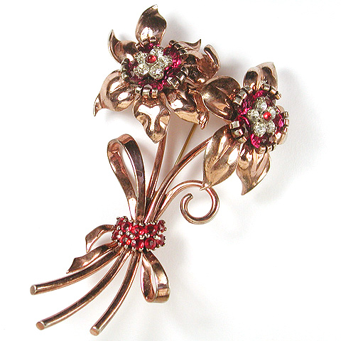 Pennino Sterling 'Jewels of Fantasy' Gold Ruby and Diamante Double Peony Floral Spray with Bow Pin