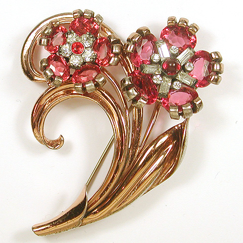 Pennino Sterling 'Jewels of Fantasy' Gold Leaves and Double Ruby Flowers Pin