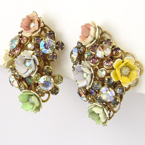 Aurora Borealis and Enamelled Flower Garlands Clip Earrings