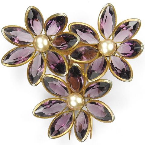 Gold Amethyst and Pearls Three Flower Floral Spray Pin Clip