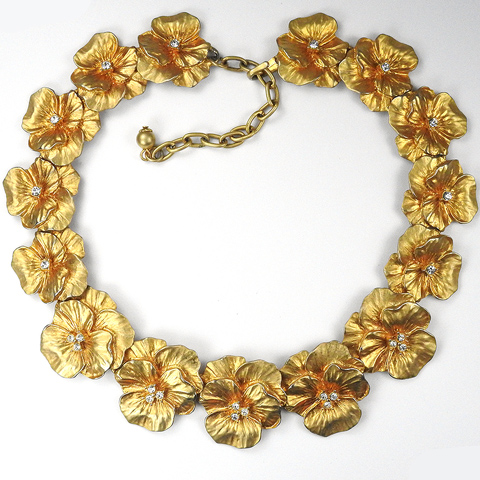 Gold and Diamante Spangles Pansies Necklace