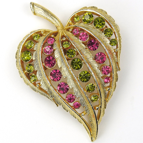 Gold Pink Topaz and Peridot Spangled Heart Shaped Leaf Pin