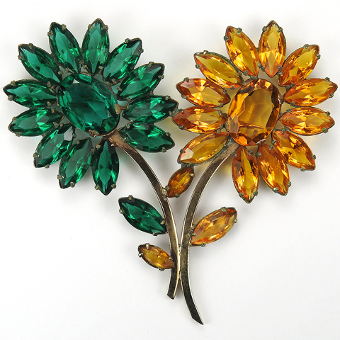 Retro Gold Prong Set Emerald and Citrine Double Flower Pin