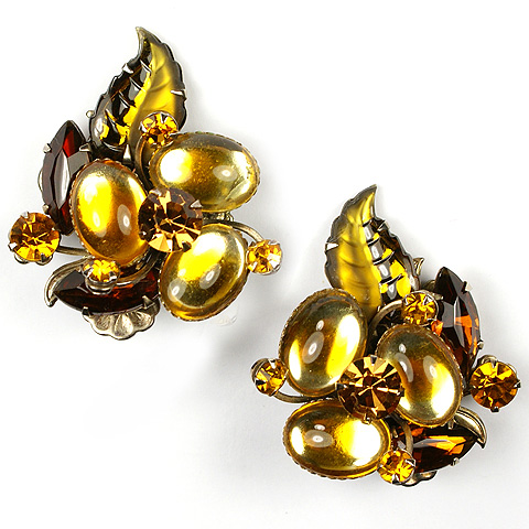 Citrines Fruit Salads and Cabochons Floral Spray Clip Earrings