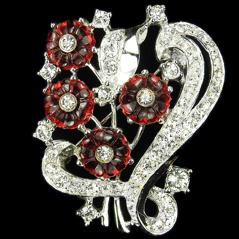 Pave and Ruby Fruit Salads Flower Cluster Pin