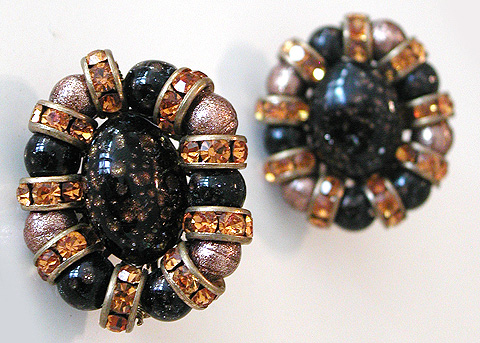 Robert Topaz Beads and Citrines Clip Earrings