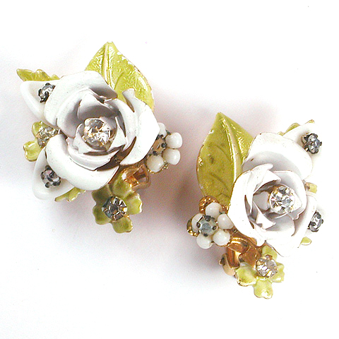 Robert Gold Enamel and Poured Glass White Roses Clip Earrings