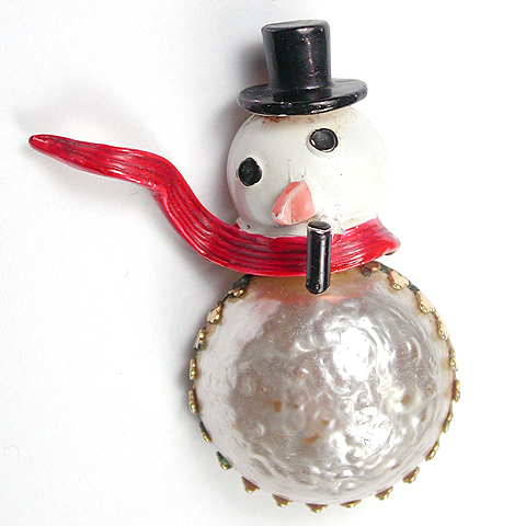 Original by Robert Mabe Pearl Christmas Snowman with Pipe Pin