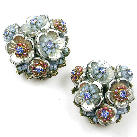 Eugene Sapphire Cornflower Poured Glass and Filigree Flower Cluster Clip Earrings