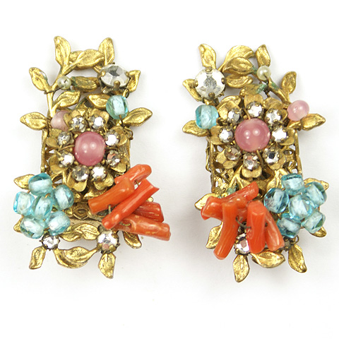DeMario NY Gold Filigree Poured Glass Flowers and Coral Clip Earrings
