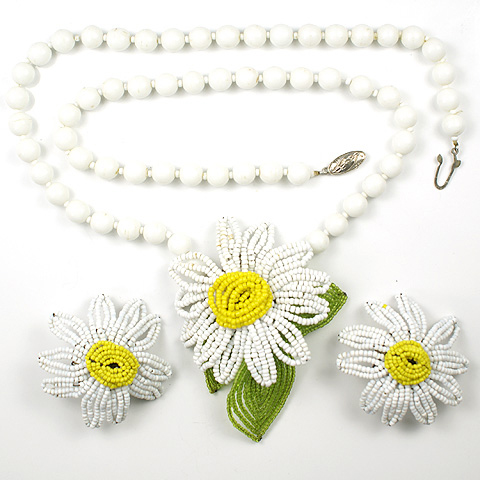 Miriam Haskell Yellow and White Poured Glass Beads Daisies Necklace and Clip Earrings Set