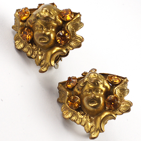 Miriam Haskell Golden Winged Cherub Faces with Citrine Spangles Clip Earrings