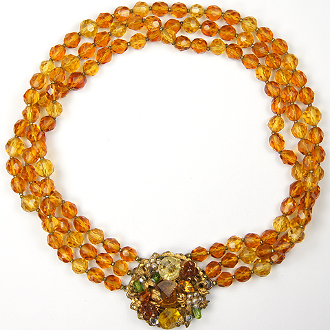 DeMario Gold Citrine Topaz and Pearls Poured Glass Choker Necklace