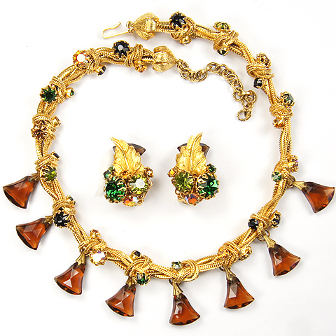 DeMario Gold Bows Muticolour and Aurora Stones with Bell Cut Topaz Pendants Fall Colours Necklace and Clip Earrings Set