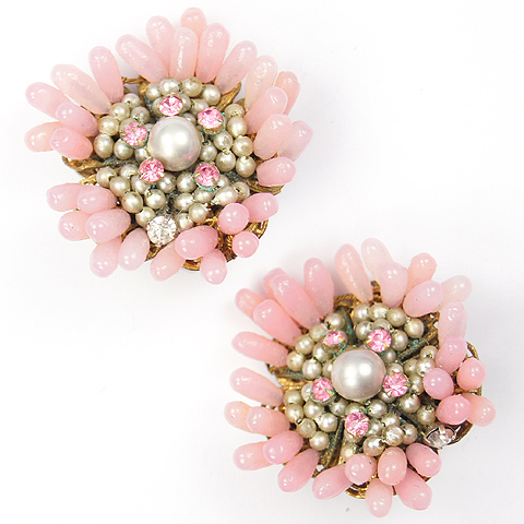 DeMario Pink Beads Poured Glass and Pearls Floral Clip Earrings